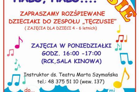 Plakat promujący zapisy do dziecięcego zespołu Tęczusie.