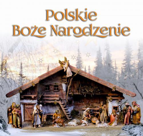 """1.Plansza """"Polskie Boże Narodzenie"""" zawiera zimowy widok, na którym widnieje szopka."""