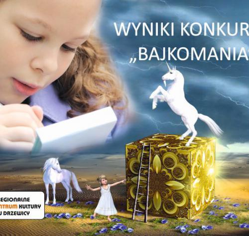 Dziewczynka pisząca w notatniku. W centrym grafiki złoty sześcian na nim biały koń. Obok sześcianu mała dziewczynka w białej sukience. Obok dziewczynki biały koń zerkający za siebie.