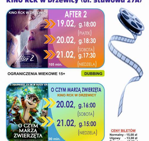Plakat przedstawia dwa plakaty filmowe z informacją o godzinie wyświetlania danego filmu. Po boku plakatów jest rozwinięta taśma filmowa, poniżej ceny biletów. Treść plakatu zawiera się w treści aktualności