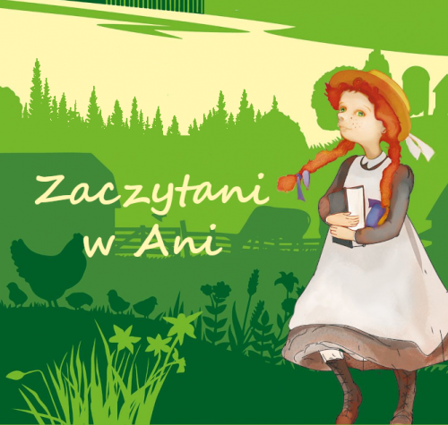 """Ilustracja przedstawia główną bohaterkę quizu ,,Zaczytani w Ani"""" Anię Shirley na tle Zielonego Wzgórza."""