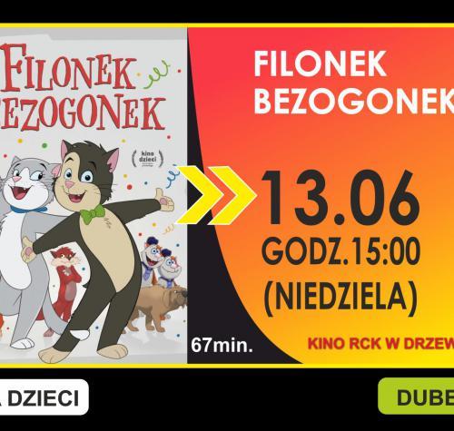 Grafika przedstawia termin filmu 13.06.2021 godzina 15:00 oraz miniaturę plakatu. Na pierwszym planie plakatu dwa tańczące koty.