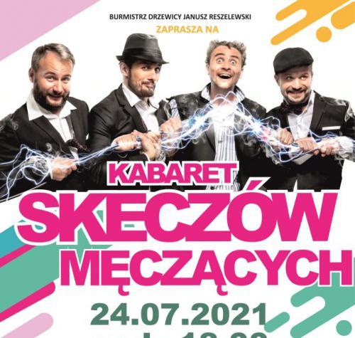Plakat zapowiadający występ Kabaret Skeczów Męczących. Na górze plakatu czterech mężczyzn. Poniżej opis znajdujący się w aktualności.